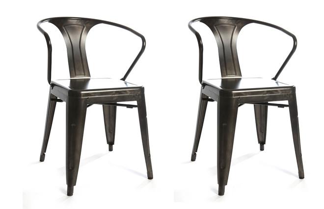 Lote de 2 sillas de dise o industrial metal efecto inox for Sillas famosas diseno industrial