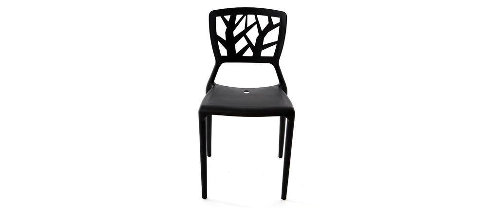 Lote de 2 sillas de diseño negras KATIA