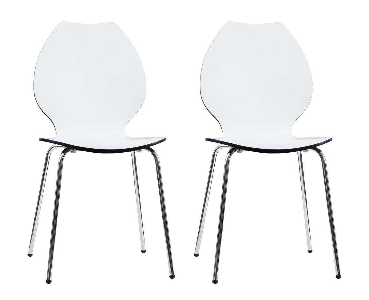 Lote de 2 sillas de dise o para cocina blancas negras ava for Sillas cocina negras