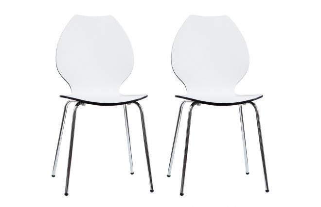 Lote de 2 sillas de dise o para cocina blancas negras ava for Sillas blancas apilables