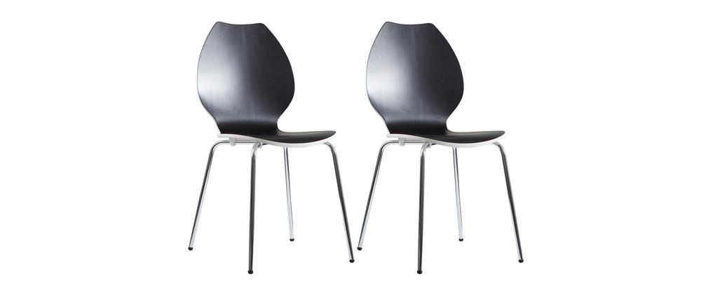 Lote de 2 sillas de diseño para cocina negras/blancas AVA