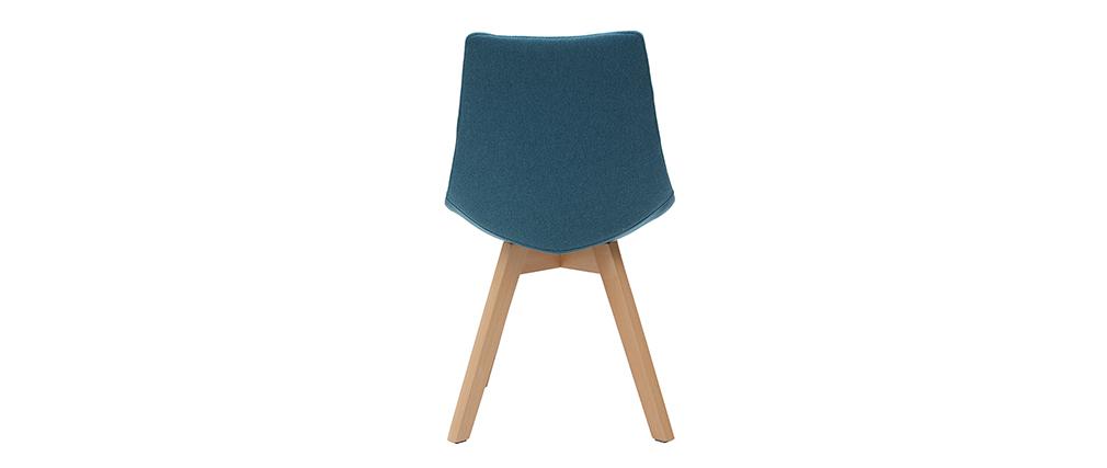 Lote de 2 sillas diseño nórdico en tejido azul petróleo MATILDE
