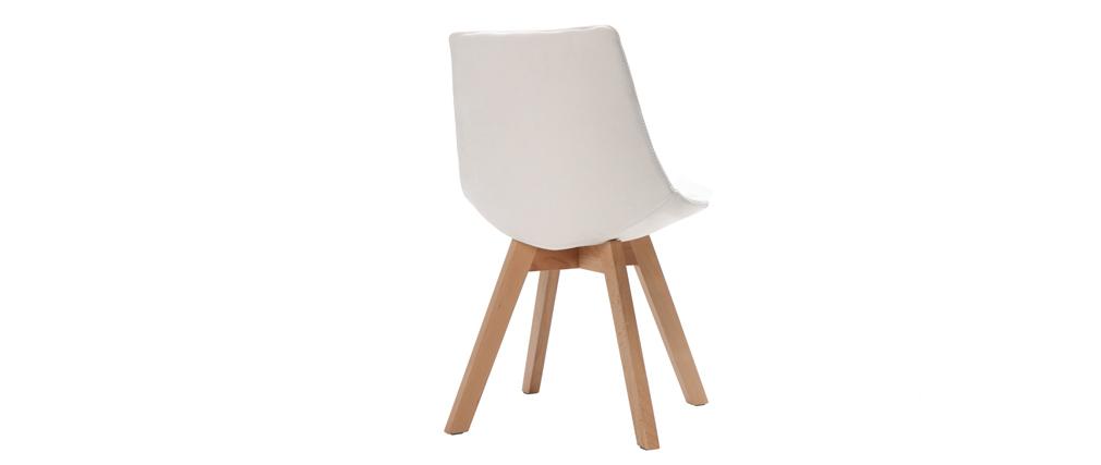 Lote de 2 sillas diseño nórdico madera y tejido blanco roto MATILDE