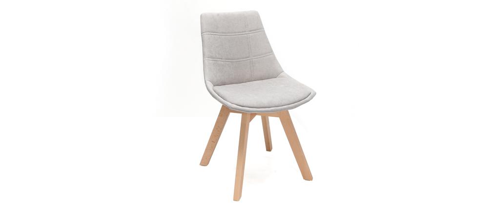 Lote de 2 sillas diseño nórdico madera y tejido gris claro MATILDE