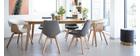 Lote de 2 sillas diseño nórdico madera y tejido gris oscuro MATILDE