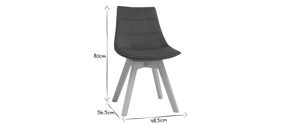 Lote de 2 sillas diseño nórdico madera y terciopelo azul petróleo MATILDE