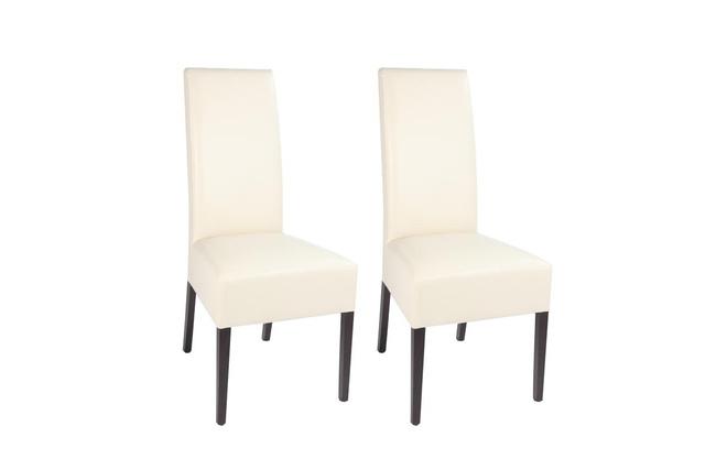 Lote de 2 sillas diseño poliuretano beige y patas wengé TANIA - Zoom