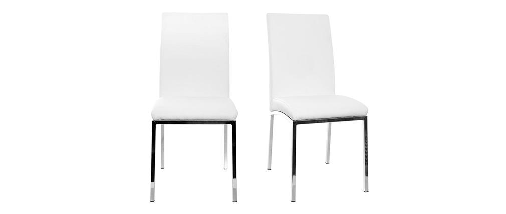 Lote de 2 sillas diseño poliuretano blanco SIMEA