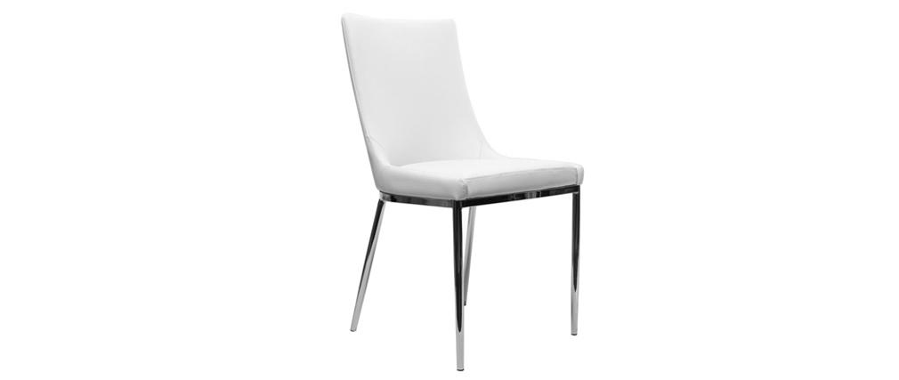 Lote de 2 sillas diseño poliuretano blanco y acero cromado IRA