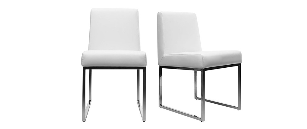 Lote de 2 sillas diseño poliuretano blanco y acero cromado JUNIA