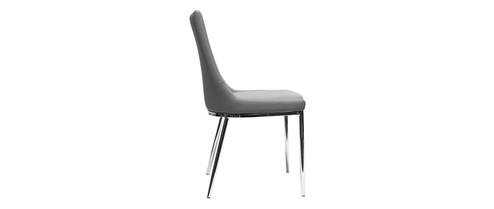 Lote de 2 sillas diseño poliuretano gris y acero cromado IRA