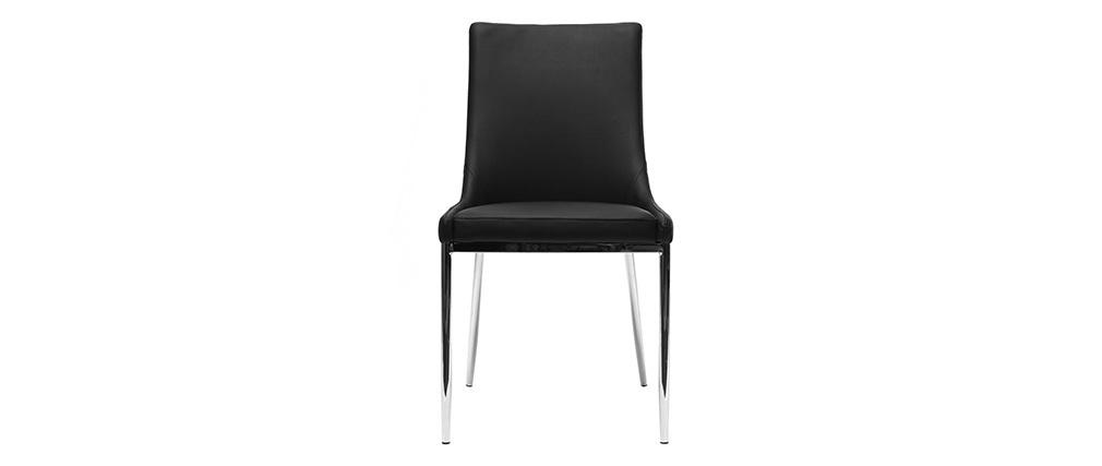 Lote de 2 sillas diseño poliuretano negro y acero cromado IRA