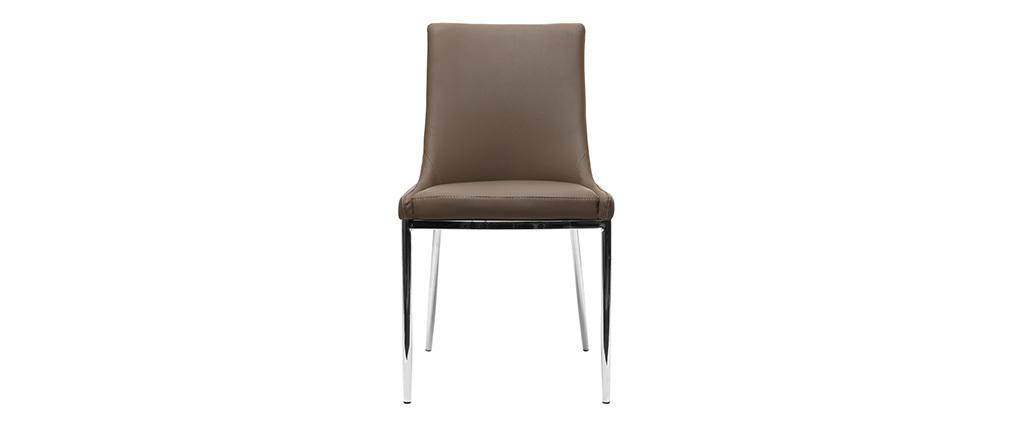 Lote de 2 sillas diseño poliuretano topo y acero cromado IRA