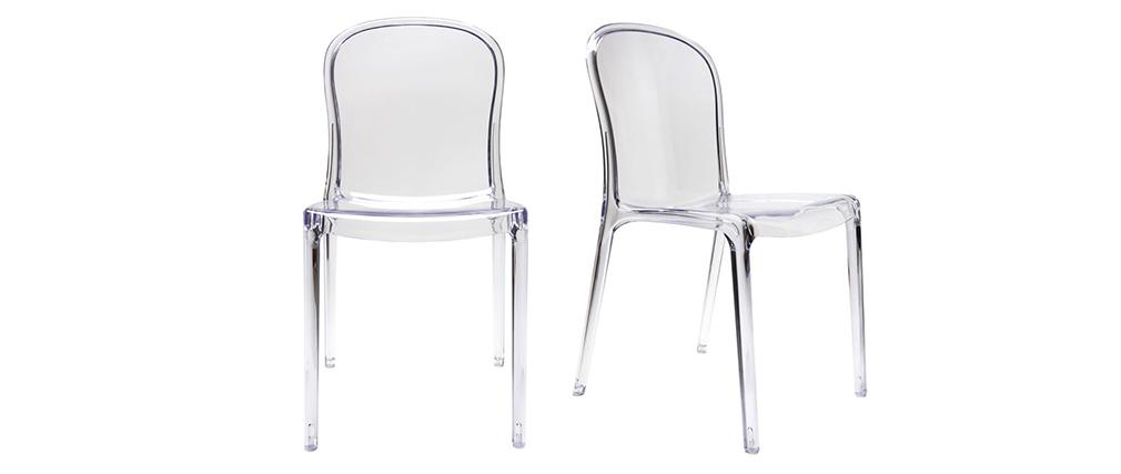 Lote de 2 sillas diseño transparente policarbonato THALYSSE
