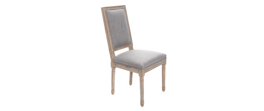 Lote de 2 sillas en tejido gris claro patas madera clara AMAURY