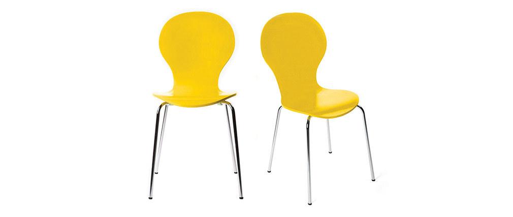 Lote de 2 sillas modernas color amarillo NEW ABIGAIL
