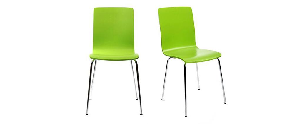 Lote de 2 sillas modernas color verde manzana NELLY