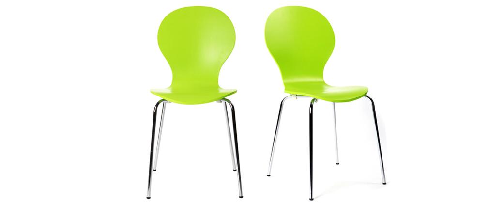 Lote de 2 sillas modernas color verde manzana NEW ABIGAIL