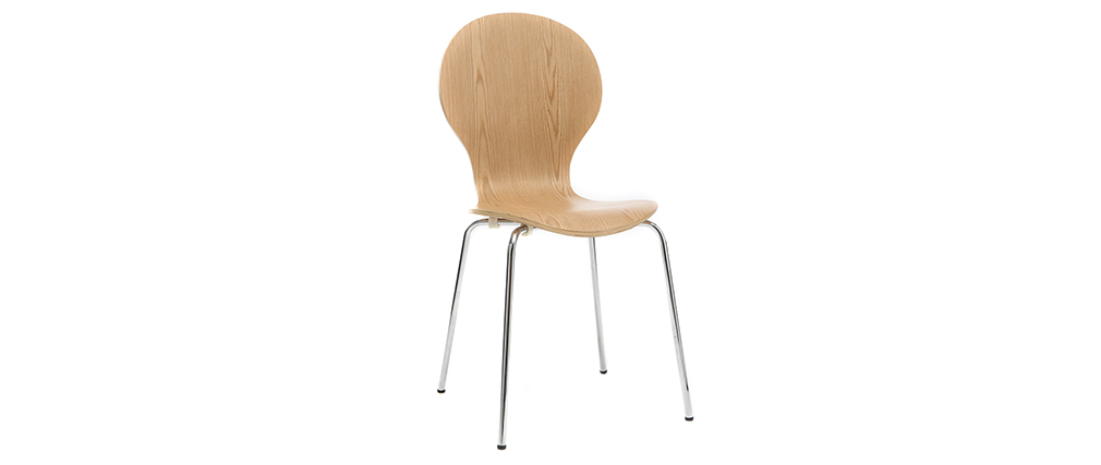 Lote de 2 sillas modernas madera clara NEW ABIGAIL