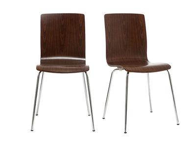 Lote de 2 sillas modernas madera nogal