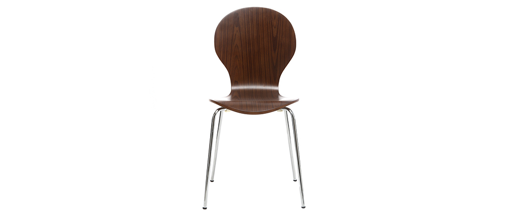 Lote de 2 sillas modernas madera nogal NEW ABIGAIL