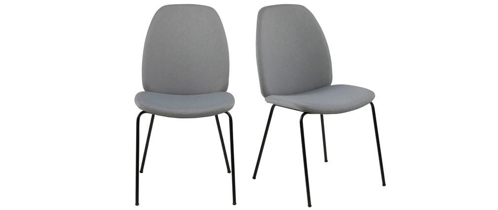Lote de 2 sillas modernas tejido gris claro PALOMA