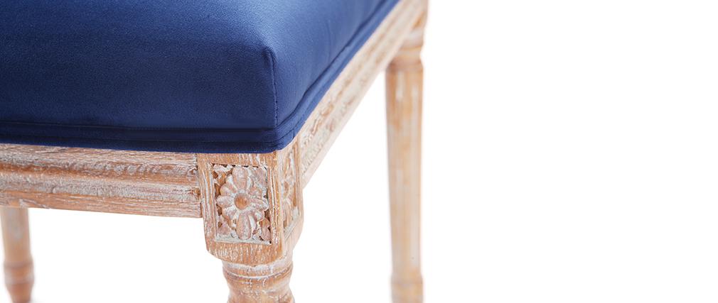 Lote de 2 sillas terciopelo azul oscuro patas madera clara LEGEND