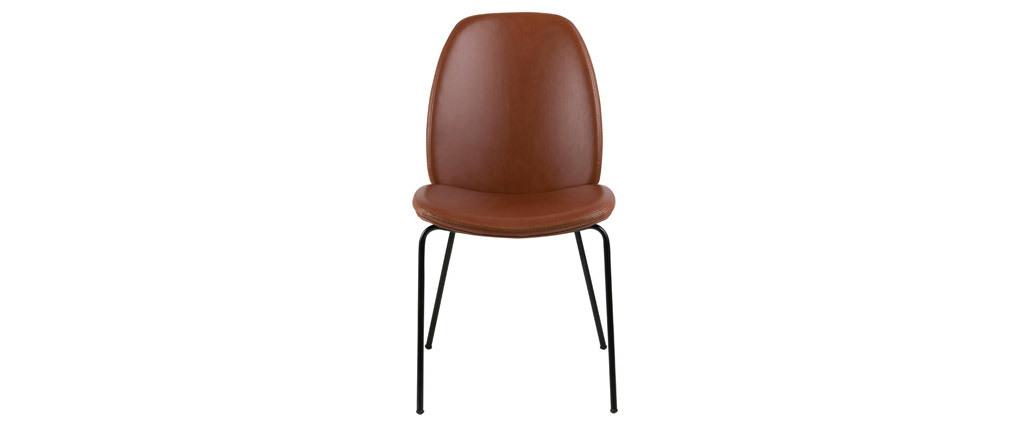 Lote de 2 sillas vintage polipiel marrón PALOMA