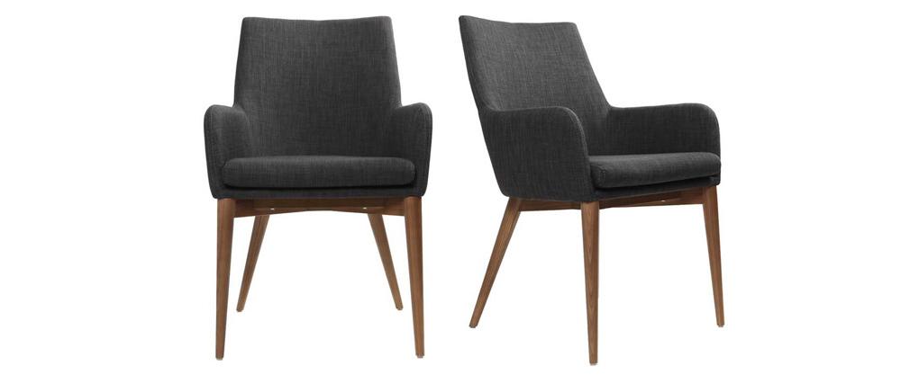 Lote de 2 sillones de diseño en poliéster gris antracita SHANA