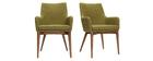 Lote de 2 sillones de diseño en poliéster verde SHANA