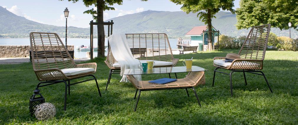 Lote de 2 sillones de jardín en resina azul petróleo TANGO