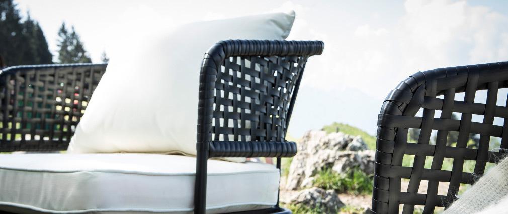 Lote de 2 sillones de jardín en resina imitación mimbre negro MONACO
