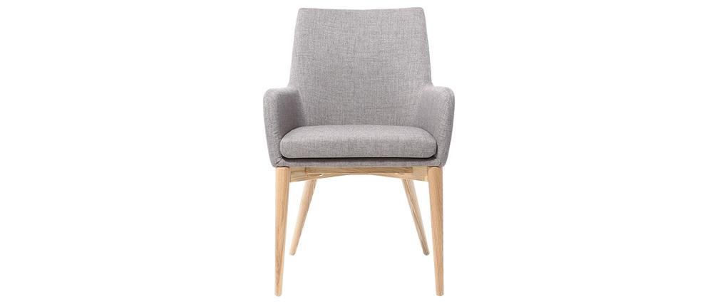 Lote de 2 sillones diseño madera clara y tejido gris SHANA