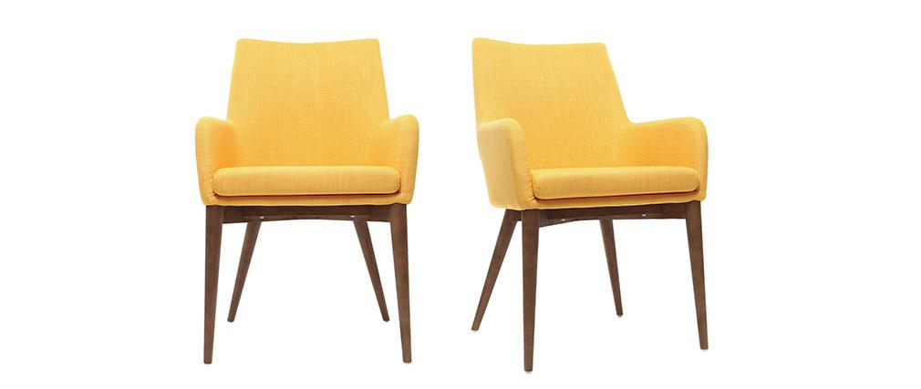 Lote de 2 sillones diseño madera y tejido amarillo SHANA