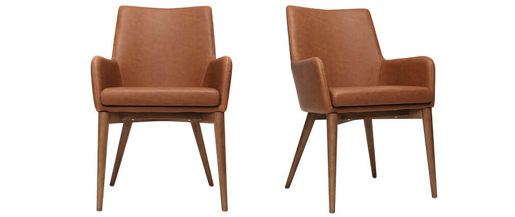 Lote de 2 sillones vintage PU marrón y madera  SHANA