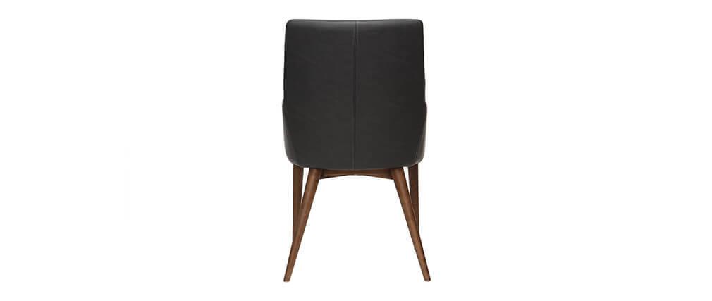 Lote de 2 sillones vintage PU negro y madera  SHANA