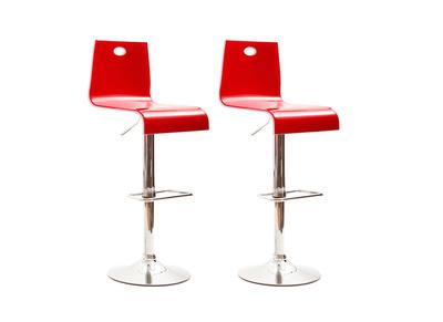 Lote de 2 taburetes bicolores rojo y blanco SATURNE cuadrados