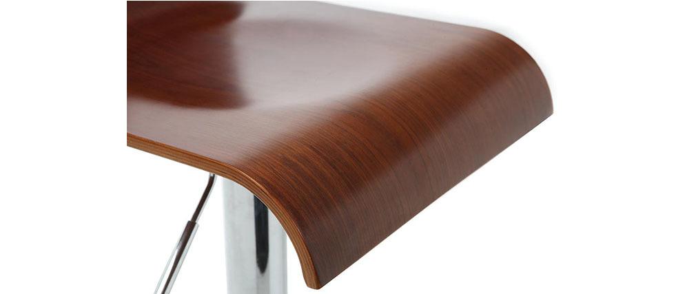 Lote de 2 taburetes de bar / cocina diseño madera color nogal SURF V2
