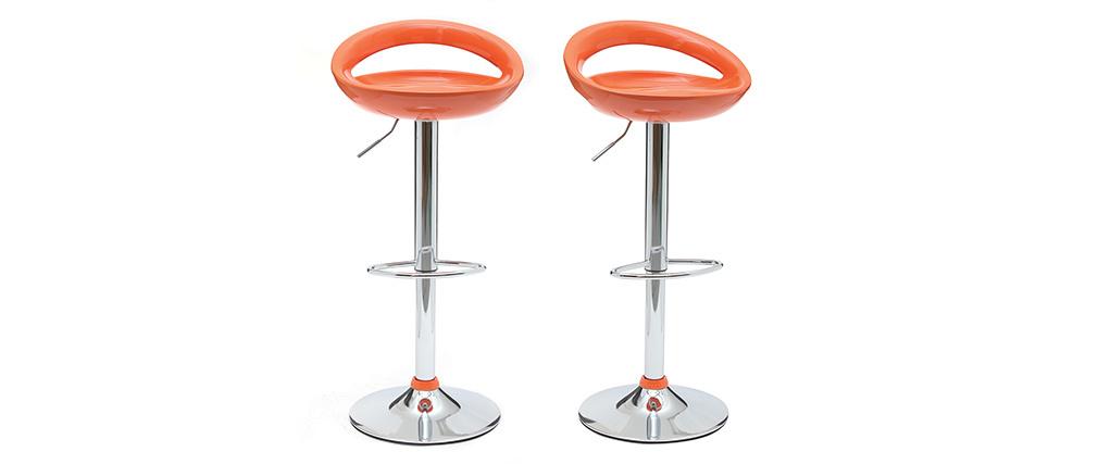 Lote de 2 taburetes de bar COMET color naranja