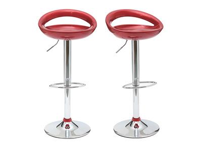 Lote de 2 taburetes de bar COMET color rojo burdeos