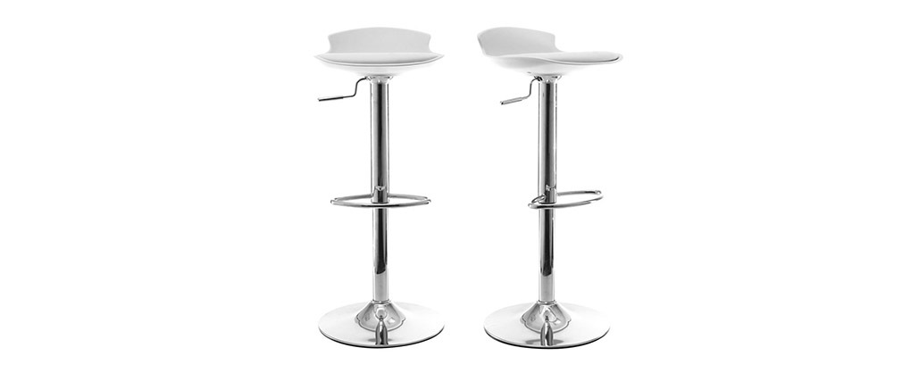 Lote de 2 taburetes de bar diseño blanco NOVA