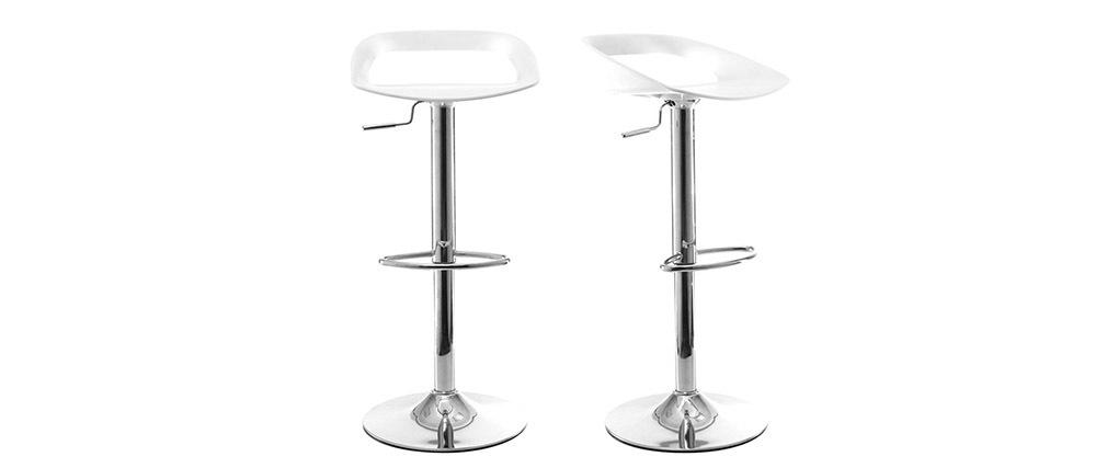 Lote de 2 taburetes de bar diseño blanco PHENIX