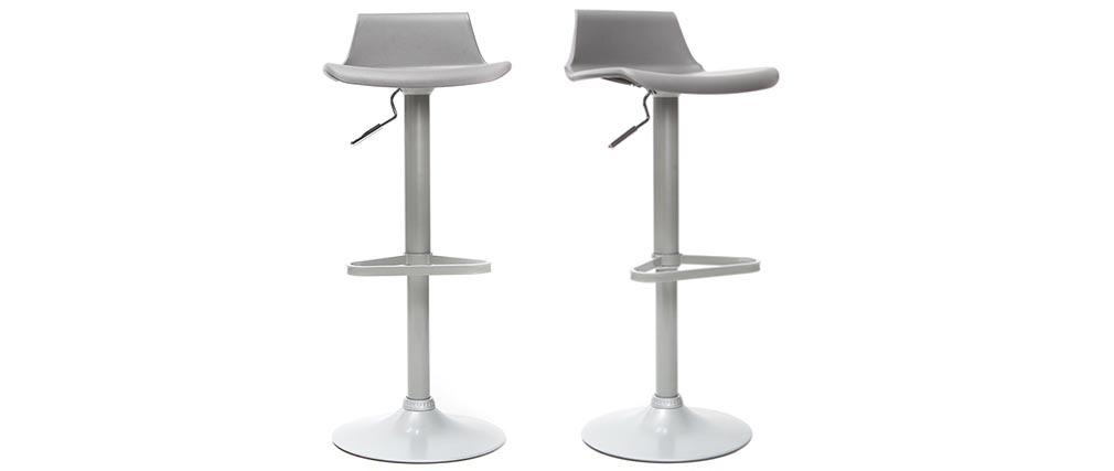 Lote de 2 taburetes de bar diseño gris KRONOS