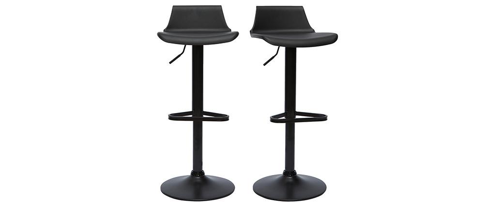 Lote de 2 taburetes de bar diseño negro KRONOS