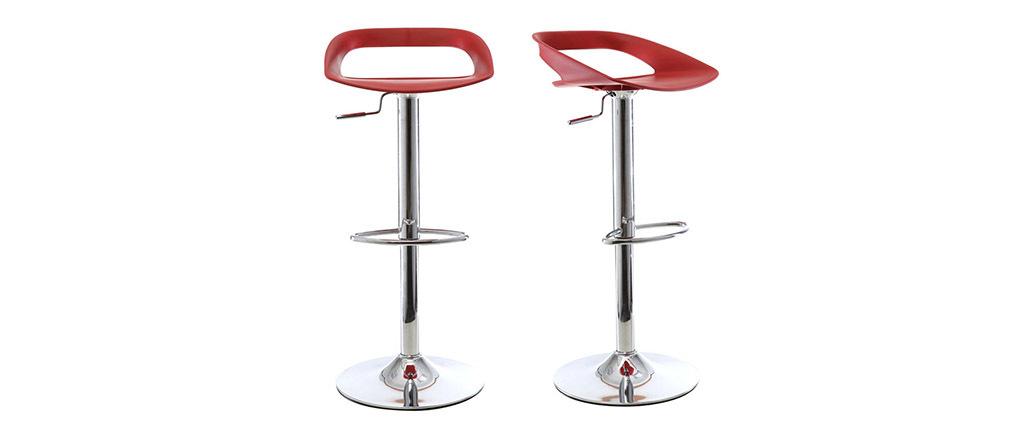 Lote de 2 taburetes de bar diseño rojo PHENIX