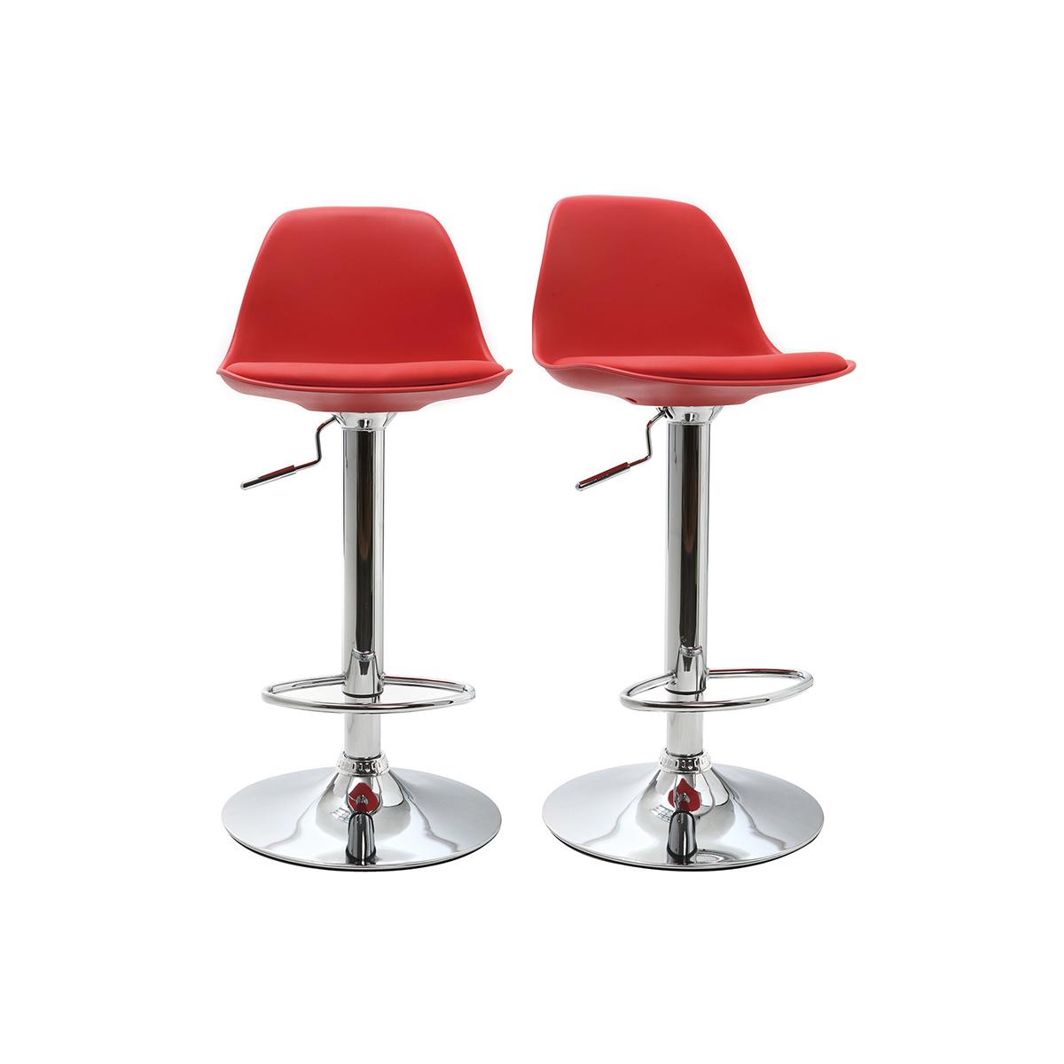 Lote de 2 taburetes de bar diseño rojos STEEVY