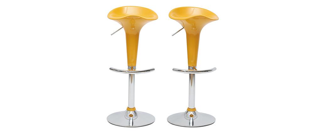 Lote de 2 taburetes de bar GALAXY color amarillo