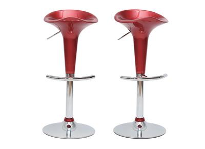 Lote de 2 taburetes de bar GALAXY color rojo burdeos