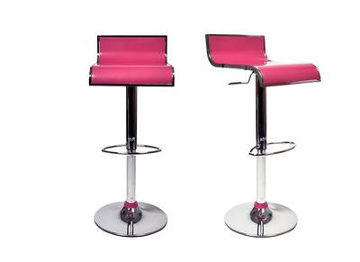 Lote de 2 taburetes de bar WAVES color rosa