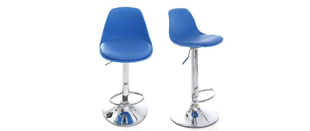 Lote de 2 taburetes de diseño azules STEEVY